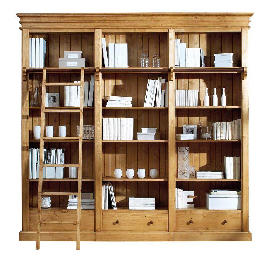 Biblioth que 250 cm 3 tiroirs naturel interior 39 s for Meubles interiors